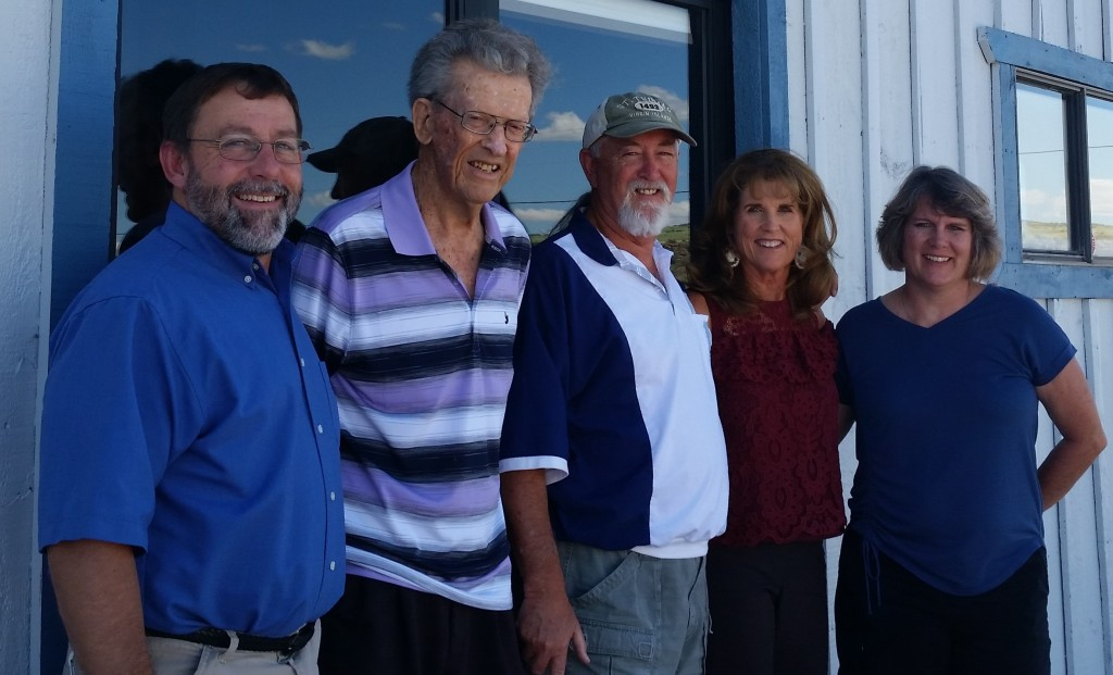 """Pastor Kenny and Laurie of Calvary Chapel Round Valley welcome Dennis, Lucy, and """"Dad"""" to their new church building."""